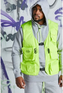 Mens Neon-green Big & Tall Quavo Nylon Military Buckle Vest