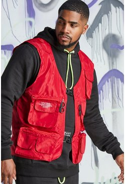 Mens Red Big & Tall Quavo Nylon Military Buckle Vest