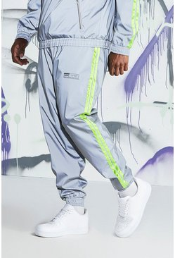 Mens Grey Big & Tall Quavo Reflective Joggers With Tape