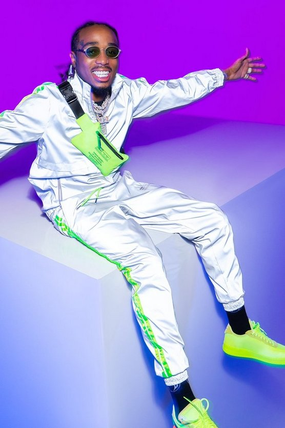 Grey Quavo Reflective Jogger With Neon Tape