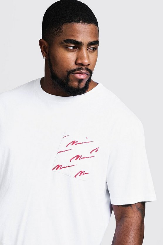 Mens White Big And Tall Crew Neck T-Shirt With MAN Print