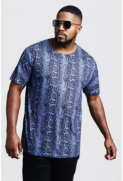Mens Blue Big And Tall Snake Print Jersey Tee