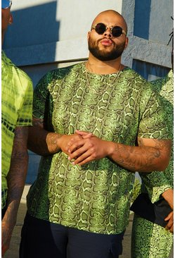 Mens Green Big And Tall Snake Print Jersey Tee