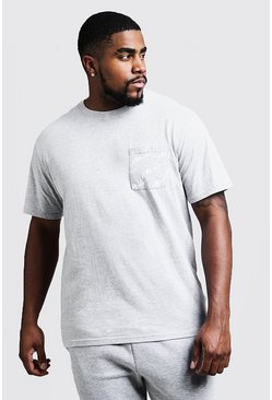 Camiseta con cuello redondo y estampado MAN Big and Tall, Gris, Hombre