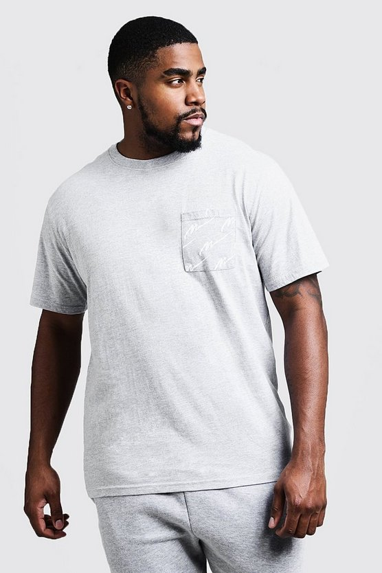 Mens Grey Big And Tall Crew Neck T-Shirt With MAN Print