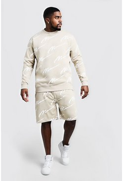 Mens Stone Big & Tall All Over MAN Print Sweater Tracksuit