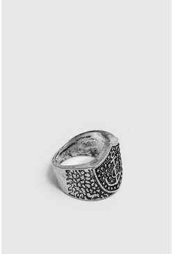 Mens Silver Engraved Detail Signet Ring