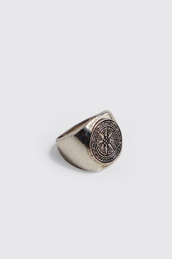 Mens Silver Emboss Compass Signer Ring