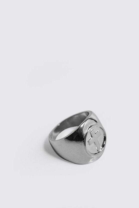 Mens Silver Cross Engraved Signet Ring