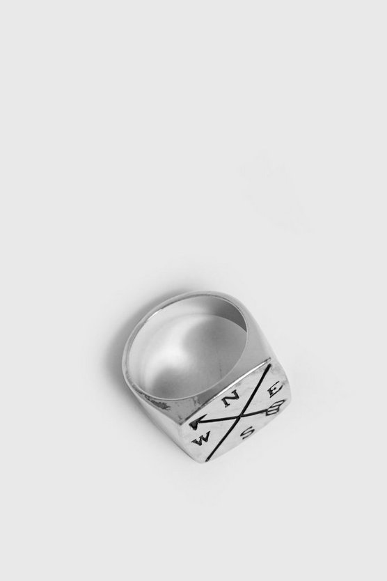 Mens Silver Compass Outline Signet Ring