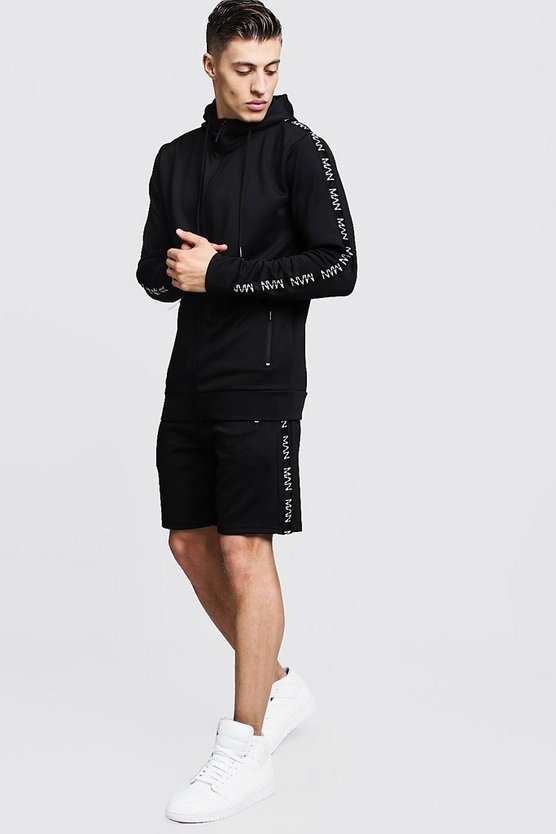Mens Black Scuba Short Tracksuit With MAN Tape