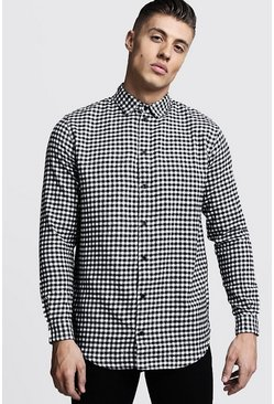 Herr Black Longline Long Sleeve Mono Check Shirt