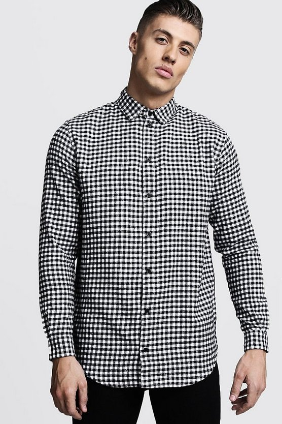 Longline Long Sleeve Mono Check Shirt