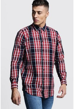 Mens Longline Long Sleeve Red Check Shirt