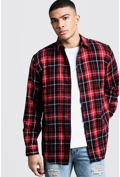 Herr Oversized Long Sleeve Red Check Shirt