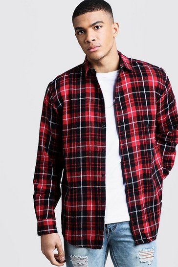 Mens Oversized Long Sleeve Red Check Shirt