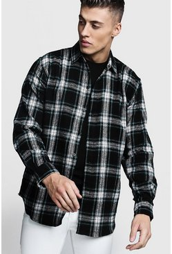 Mens Black Oversized Long Sleeve Check Shirt