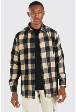 Herr Oversized Long Sleeve Camel Check Shirt