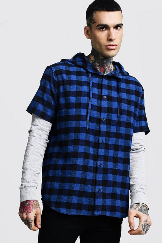 Mens Blue Oversized Check Shirt With Faux Layer Sleeve