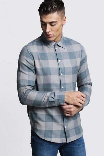 Mens Dusty blue Long Sleeve Dusky Blue Check Shirt