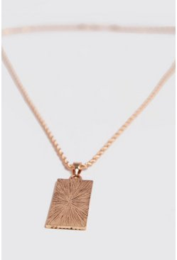 Mens Gold Bar Engraved Pendant Necklace
