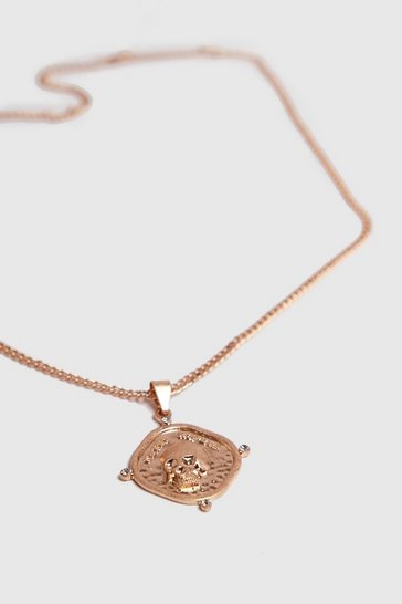 Mens Gold Stamp Press Pendant Necklace