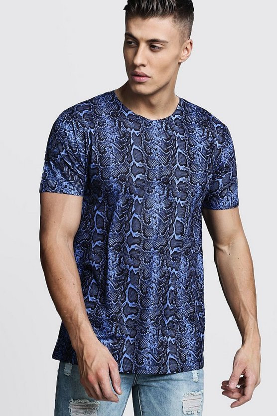 Mens Blue Loose Fit Snake Print Jersey Tee