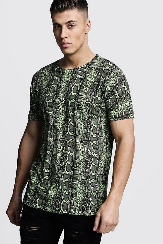 Mens Green Loose Fit Snake Print Jersey Tee