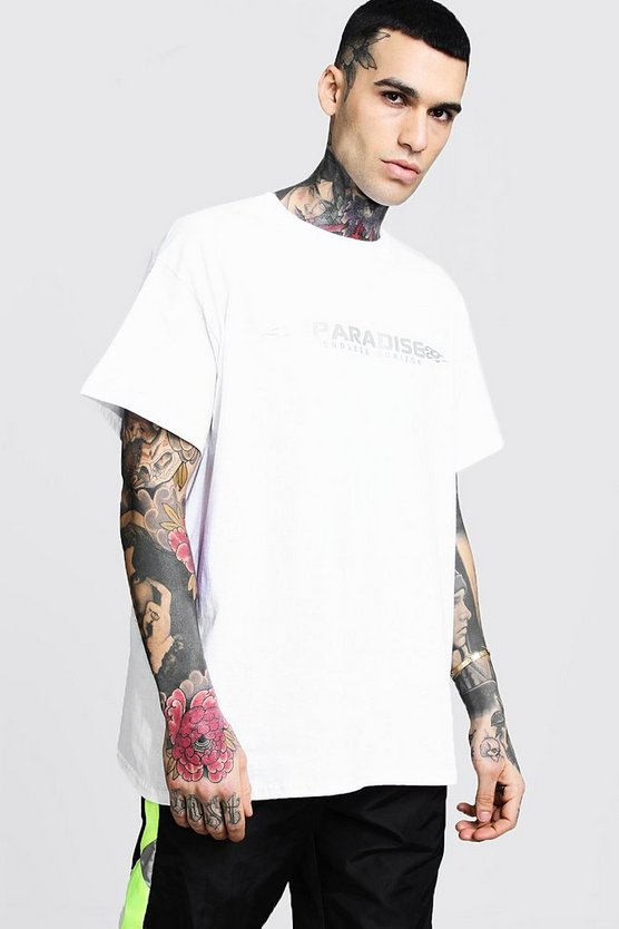 Mens Oversized Reflective Paradise Jersey Tee