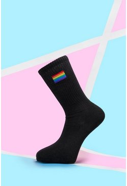 Black Rainbow Embroidered Sport Sock