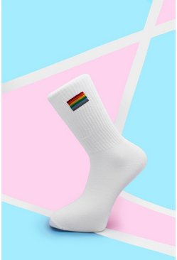 Mens White Pride Rainbow Embroidered Sport Sock