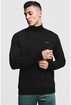 Mens Black High Neck MAN Sweater With Rib Detail