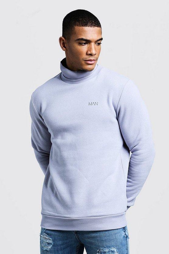Mens Lilac grey High Neck MAN Sweater With Rib Detail