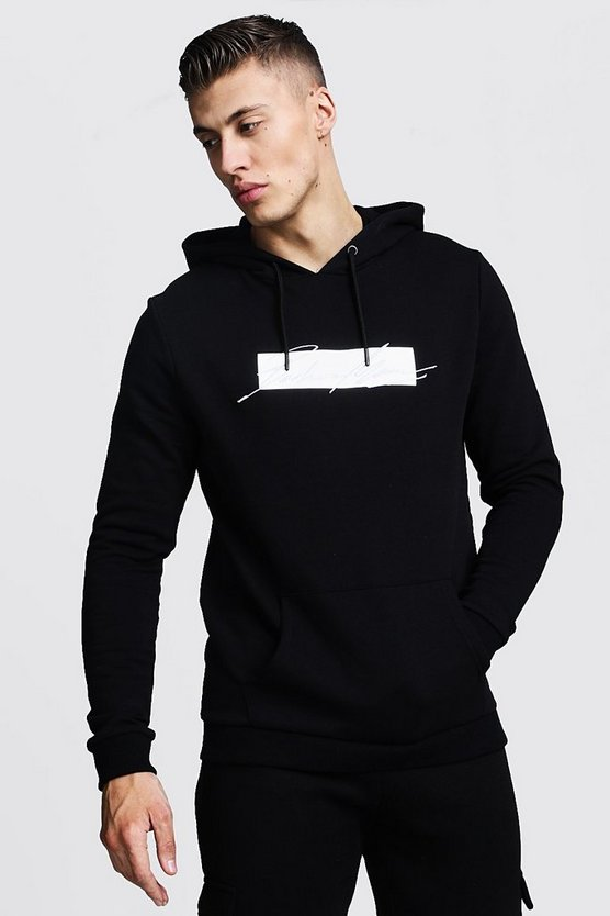 Mens Black MAN Autograph Embroidered Reflective Print Hoodie