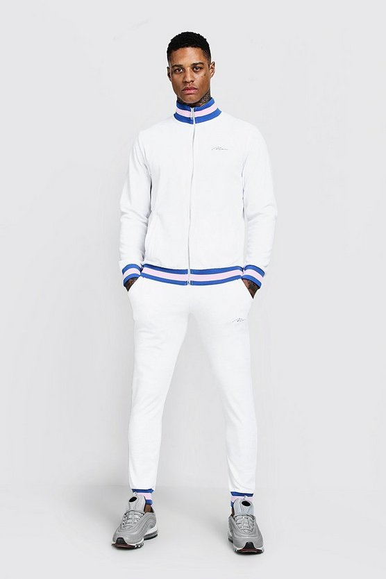 Mens White Velour Funnel Neck MAN Contrast Tracksuit