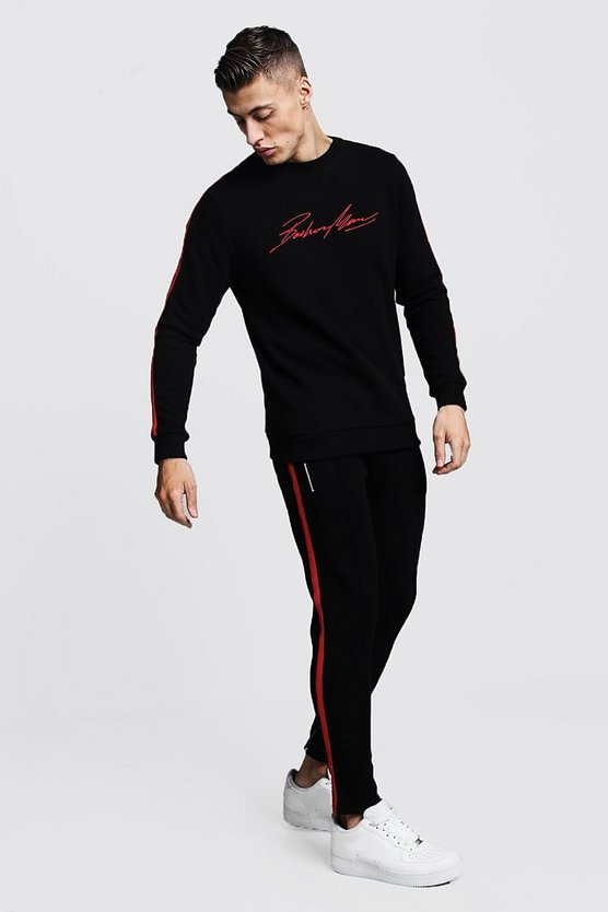 Mens Black MAN Autograph Sweater Tracksuit With Tape