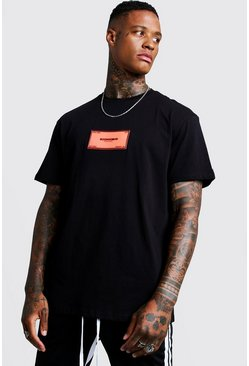 Mens Black Loose Fit Rubberised MAN Badge T-Shirt