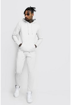 Mens Light grey Jacquard Stripe MAN Hoodie