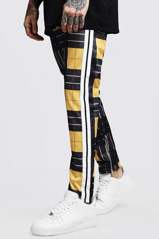 Mens Yellow MAN Tricot Check Joggers With Tape