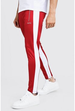 Mens Red Original MAN Pintuck Panelled Tricot Joggers