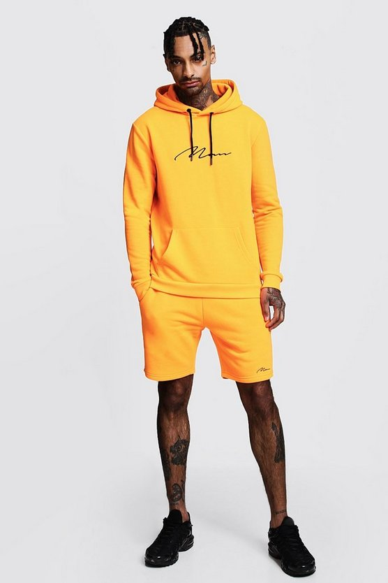 Mens Neon-orange Neon MAN Signature Hooded Short Tracksuit