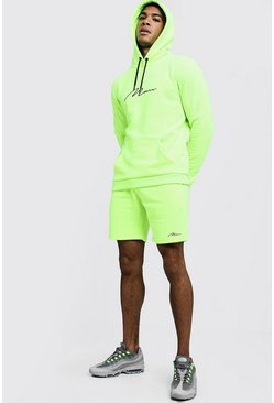 Mens Neon-green Neon MAN Signature Hooded Short Tracksuit