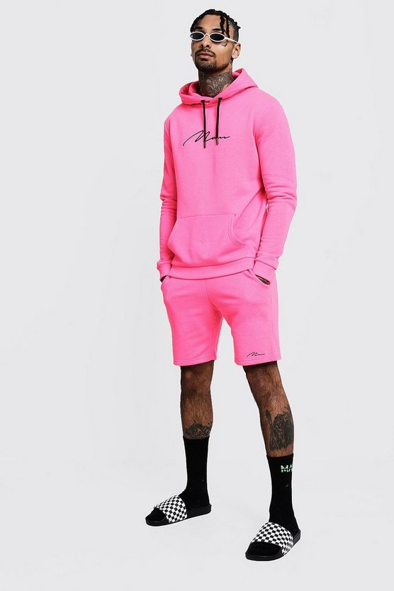 Mens Neon-pink Neon MAN Signature Hooded Short Tracksuit