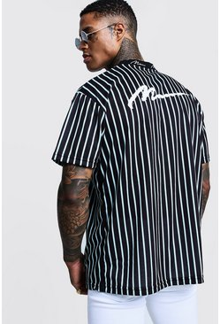 Mens Aqua Oversized MAN Ribbed Stripe T-Shirt