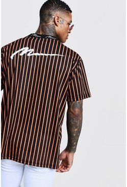 Mens Orange Oversized MAN Ribbed Stripe Loose Fit T-Shirt
