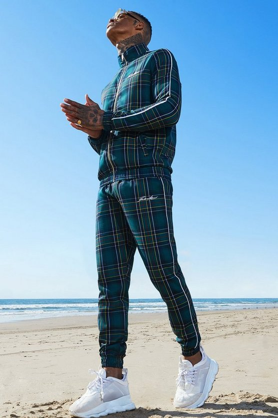 Mens Forest Tartan MAN Emboridered Smart Tracksuit