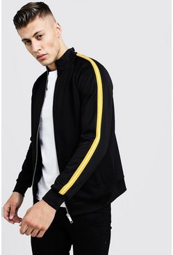 Mens Black Tricot Tape Detail Smart Track Top