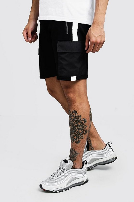 Mens Black Nylon Pocket MAN Shorts