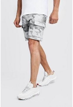 Mens Grey Camo Print Cargo Mid Length Short