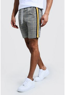 Mens Mustard Houndstooth Check Taped Mid Length Short